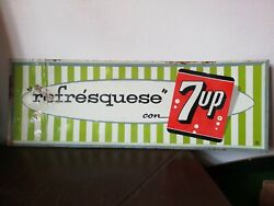 Vintage Mexican Refrescate 7up Seven Up Soda Tin Metal Sign From 60's Rare Htf