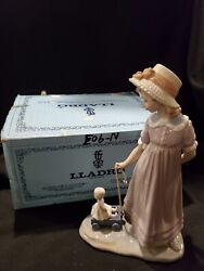 Antique Lladro Figurine- 5044- Girl With Toy Wagon