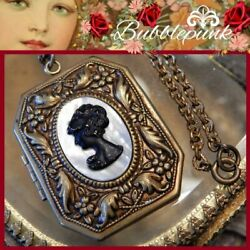 Antique Metal And Mop Cameo Ornate Relief Book Locket Necklace Estate Jewelry