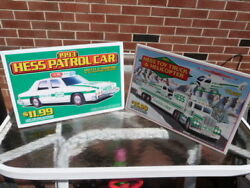Vtg Lot 2 1993 1995 Hess Toy Truck And Helicopter Patrol Car Dealer Display Signs