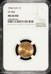 1946-d/d Rpm Vp-002 Lincoln Wheat Penny Ngc Ms66 Rd Red B5-380-041