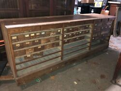 Vintage Oak Hardware Store Counter Cabinet Galvanized Drawers 94andrdquo X 33andrdquoh X 25.75