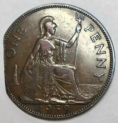Great Britain 1939 . Penny . Error . Clipped Planchet