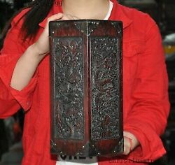 12old China Rosewood Wood Pure Hand Carved Dragon Statue Brush Pot Pencil Vase