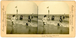 Stereo, Usa, Coney Island, N.y, In The Surf Vintage Stereo Card - Tirage Albu