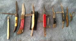 Lot Of 9 Different Old And Used Pocket Knives, Most 50 + Yrs Old