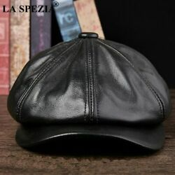 Men Leather Octagonal Cap Male Autumn Winter Fitted Vintage Duckbill Hats Berets