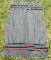Vintage Wh Brine Co Woven Wool Blanket Camp Cabin Outdoors Gray Red Green School