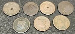 Lot Of Us Large Cents Ag-ef Some Culls Nice Fillers Coronet Braided Matron A109
