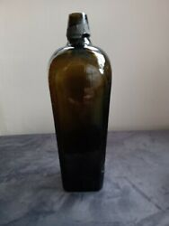 Empty Antique Olive Green - Tapered Glass - Gin Bottle - Part Of Lead Seal Left