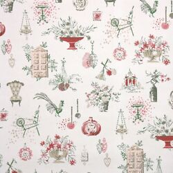 1950s Kitchen Vintage Wallpaper Pink Green Gold Knick Knacks Rooster And Flowers
