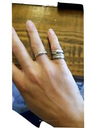 Set Of 3 Sterling Silver Stacker Rings Pinky Boho Egp Fathers Gypsy