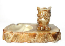 Stunning Antique Onyx Owl Ashtray Old Unique Hand Carved Heavy Cigarette Rest