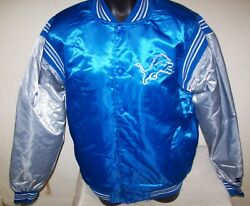Detroit Lions Starter Throwback Snap Down Jacket 3x Blue/silver
