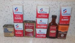 Assortment Of 10 Vintage Spice Schilling 1977 Tins And Bottle 1940s Mccormick