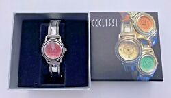 Ecclissi Sterling Silver 925 Rhodonite Dial Round Case Pink Leather Band Watch