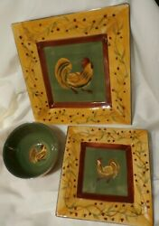 Chez Rooster 222 Fifth Dinnerware Square 3 Pc Set Plate Bowl Salad Plate