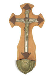 Antique French Crucifix Holy Water Font Lot Of 3 Old Collectibles 19th Century