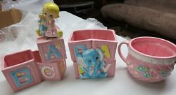 1985 Giftwares Co. Nancy Pew Collection 3 Ceramic Baby Planters