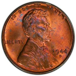 1944-d/s 1c Lincoln Cent - Type 1 Wheat Reverse Pcgs Ms65rb Fs-511