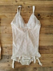 Dior Vintage Most Wanted Monogram Bodysuit Sz Us S-m White With Suspenders