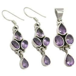 70 Off Discount Offer 925 Pure Silver Purple Amethyst Earrings And Pendant Set