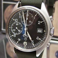 Vintage Cwc Military Swiss Valjoux Cal 7765 + Date Black Dial Chronograph Watch