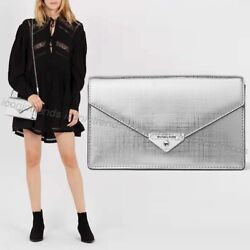 NWT 💎 Michael Kors Grace Medium Envelope Leather Clutch Crossbody Silver $75.99