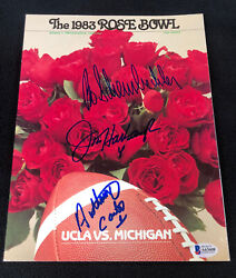 1983 Rose Bowl Program Signed By Schembechler Harbaugh And Carter Beckett Coa