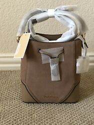 NWT MICHAEL KORS NICOLE PEBBLED LEATHER SMALL BUCKET LEATHER BAG DK KHAKI $79.00