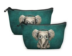 Britimes Cosmetic Bag for Purse Makeup Case Green Elephant Retro Travel 2 Pack $20.00