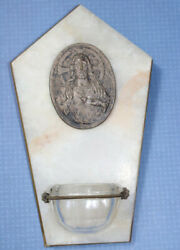 Antique Holy Water Font Onyx Marble Silver Plates Jesus Christ Old Collectible