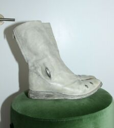 Carol Christian Poell Ccp Mens White Leather Metal Cut-out U-sole Boots Size 9