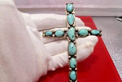 Unsigned Large 1930s Cross Turquoise Handmade Native Southwest Sterling Silver