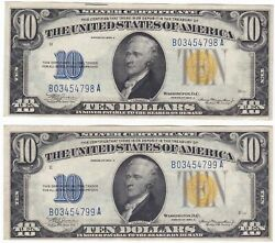 2 Consecutive Fr-2309 1934 A Series North Africa Wwii 10 Silver Certificate