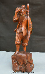 12.8 Old Chinese Boxwood Wood Carving Farmer Peasant Man Figure Sculpture