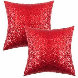 Glitter Sequins Home Decorative Square Sparkling Pillowcase Cushion Cover 2 Pack