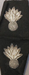 Two Officerand039s Silver Bullion Embroidered Ordnance Insignia Item 2224