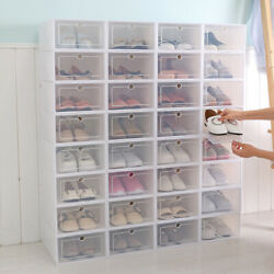 12 24pcs Foldable Plastic Transparent Shoe Box Storage Clear Organizer Stackable