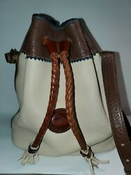 Dooney amp; Bourke Bucket Bag Shoulder Drawstring Pebbled Leather CREAM BROWN $49.99