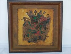 D.f. Giron 1965 Vintage Oil Painting With Brass Keys Attachments 12.5x13