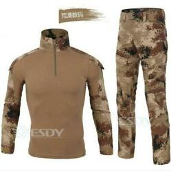 2pcs Suit Menand039s Tactical Frog Tops Pants Shirt Outdoor Camouflage Casual Combat