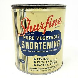 Rare Vintage 1940 Shurfine 3 Lb. Shortening Empty Tin With Lid Yellow Blue Red