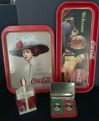 Coca Cola Metal 1991 Trays W/2 Decks Playing Cards Salt And Pepper Shakers