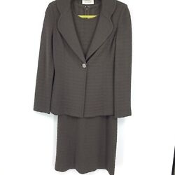 St John Collection Knit 2pc Jacket Dress Suit Textured Jacquard Read Mixed Sizes