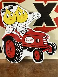 Vintage Style ''esso'' Farm Gas And Oil Pump Plate 16x19 Inch Porcelain Sign