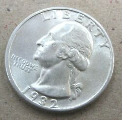 1932-d Denver Washington Quarter Gem Bu Lustrous Uncirculated Rare Key Date C2