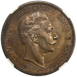 1892-a Germany Prussia 5 Mark Silver Proof Coin - Ngc Pf 58 - Km 523