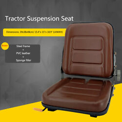 Universal Tractor Seat Slidable Forklift Seat Mower Seat Waterproof Pvc Brown Us