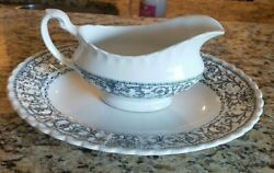 J And G Meakin England Classic Forum China Black And White Gravy And Platter